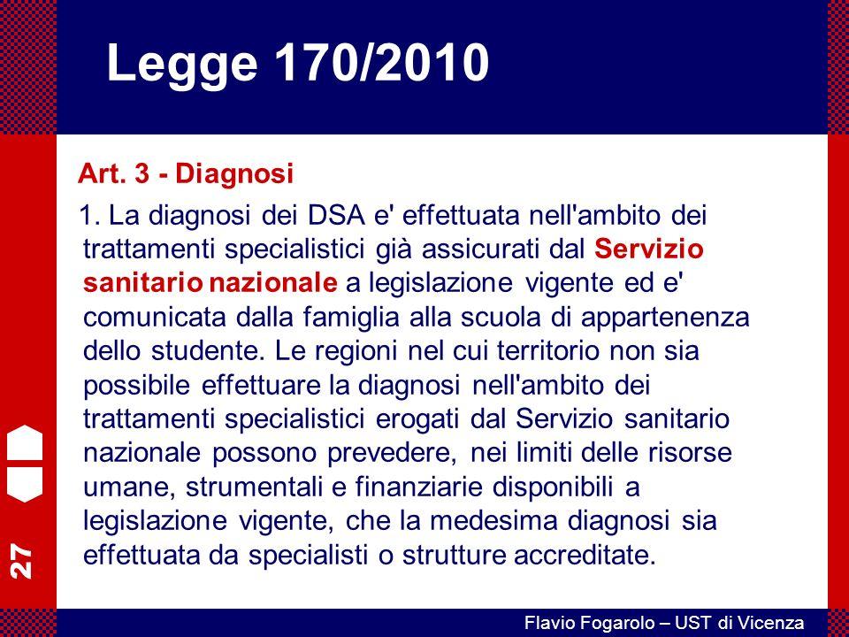 27 Flavio Fogarolo – UST di Vicenza Art.3 - Diagnosi 1.