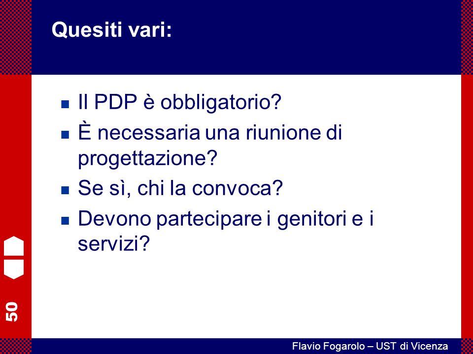 50 Flavio Fogarolo – UST di Vicenza Il PDP è obbligatorio.