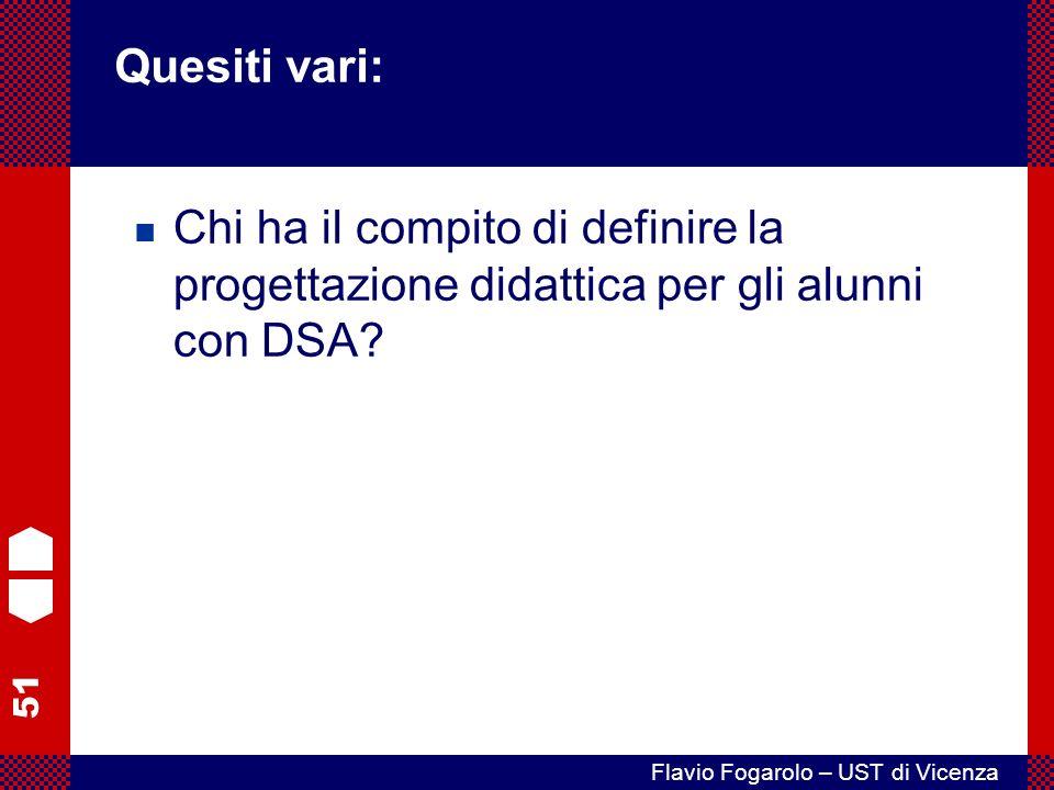 51 Flavio Fogarolo – UST di Vicenza Chi ha il compito di definire la progettazione didattica per gli alunni con DSA.
