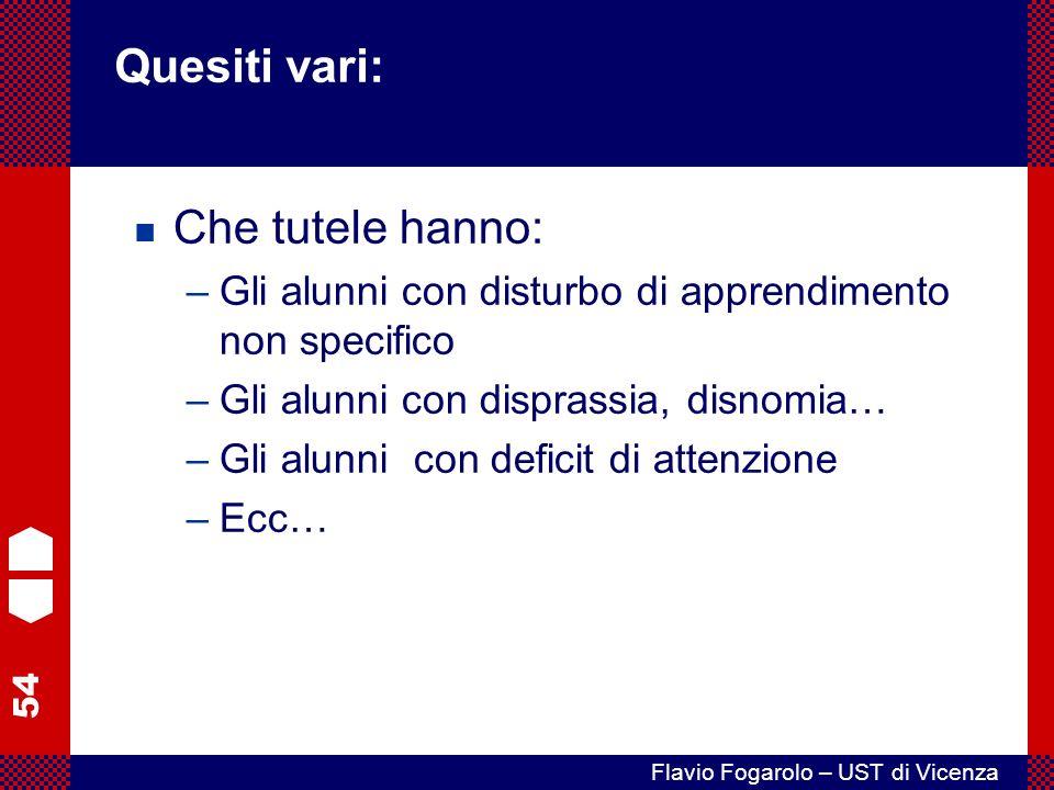 54 Flavio Fogarolo – UST di Vicenza Che tutele hanno: –Gli alunni con disturbo di apprendimento non specifico –Gli alunni con disprassia, disnomia… –Gli alunni con deficit di attenzione –Ecc… Quesiti vari: