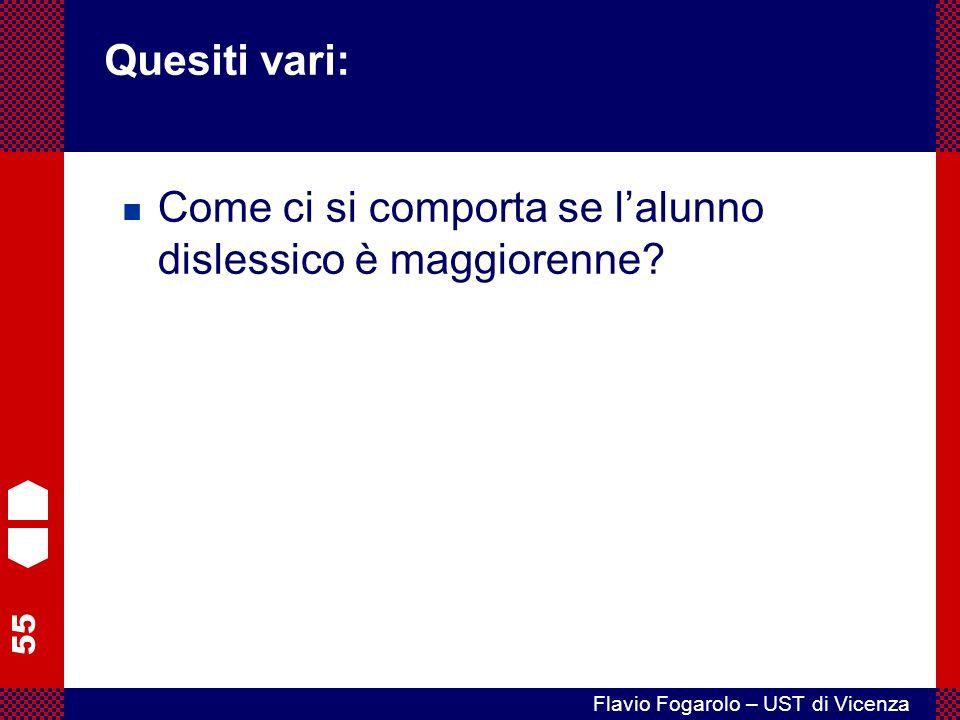 55 Flavio Fogarolo – UST di Vicenza Come ci si comporta se lalunno dislessico è maggiorenne.