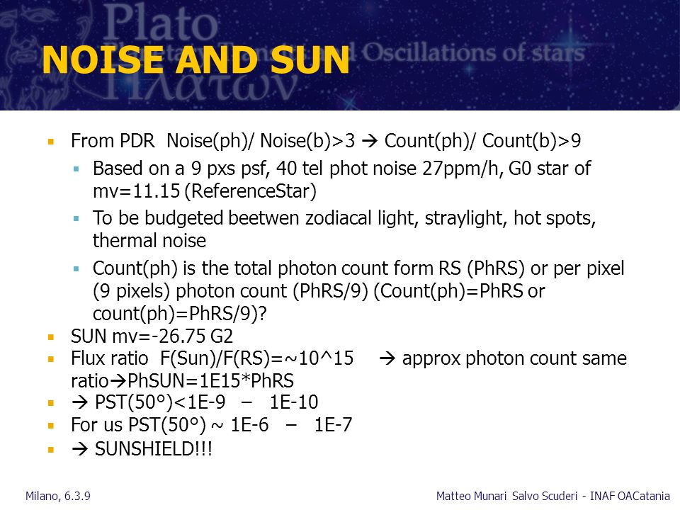NOISE AND SUN From PDR Noise(ph)/ Noise(b)>3 Count(ph)/ Count(b)>9 Based on a 9 pxs psf, 40 tel phot noise 27ppm/h, G0 star of mv=11.15 (ReferenceStar