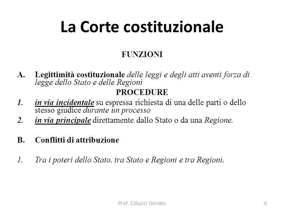 La Corte costituzionale FUNZIONI A.Legittimità costituzionale delle leggi e degli atti aventi forza di legge dello Stato e delle Regioni PROCEDURE 1.i