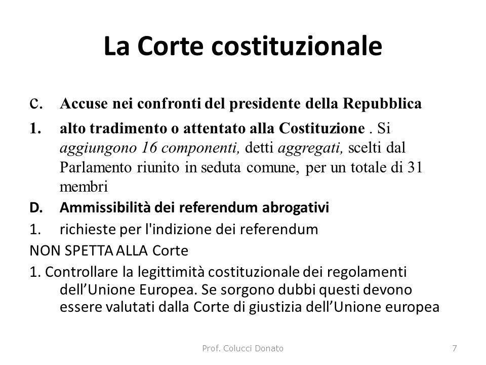 La Corte costituzionale c. Accuse nei confronti del presidente della Repubblica 1.alto tradimento o attentato alla Costituzione. Si aggiungono 16 comp