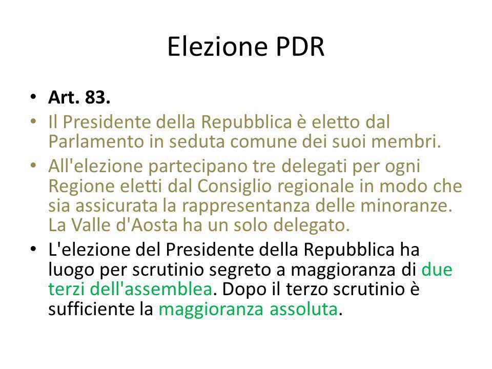 Elezione PDR Art. 83. Il Presidente della Repubblica è eletto dal Parlamento in seduta comune dei suoi membri. All'elezione partecipano tre delegati p