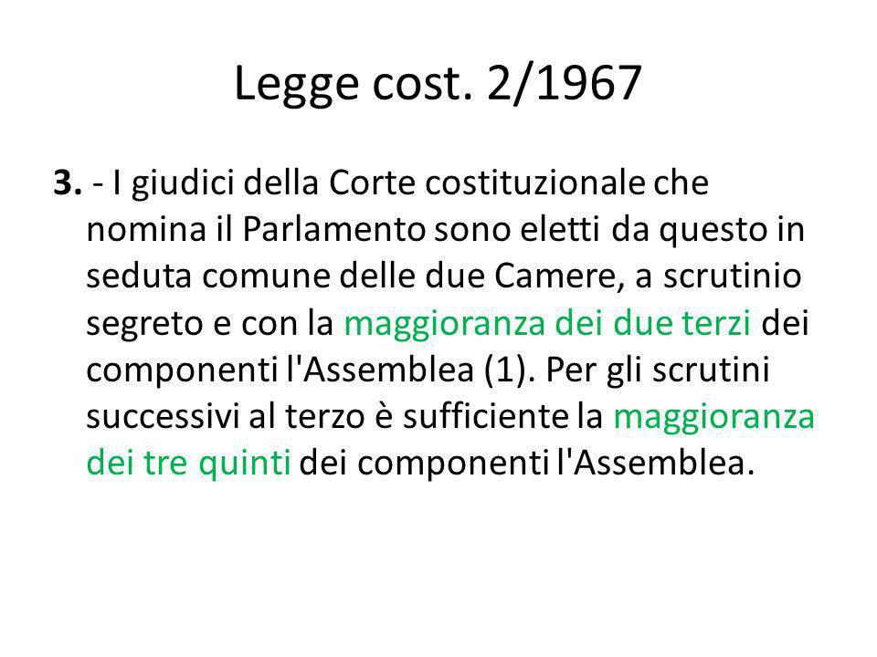 Legge cost. 2/1967 3. - I giudici della Corte costituzionale che nomina il Parlamento sono eletti da questo in seduta comune delle due Camere, a scrut