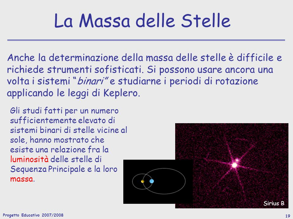 Progetto Educativo 2007/2008 19 La Massa delle Stelle Anche la determinazione della massa delle stelle è difficile e richiede strumenti sofisticati.