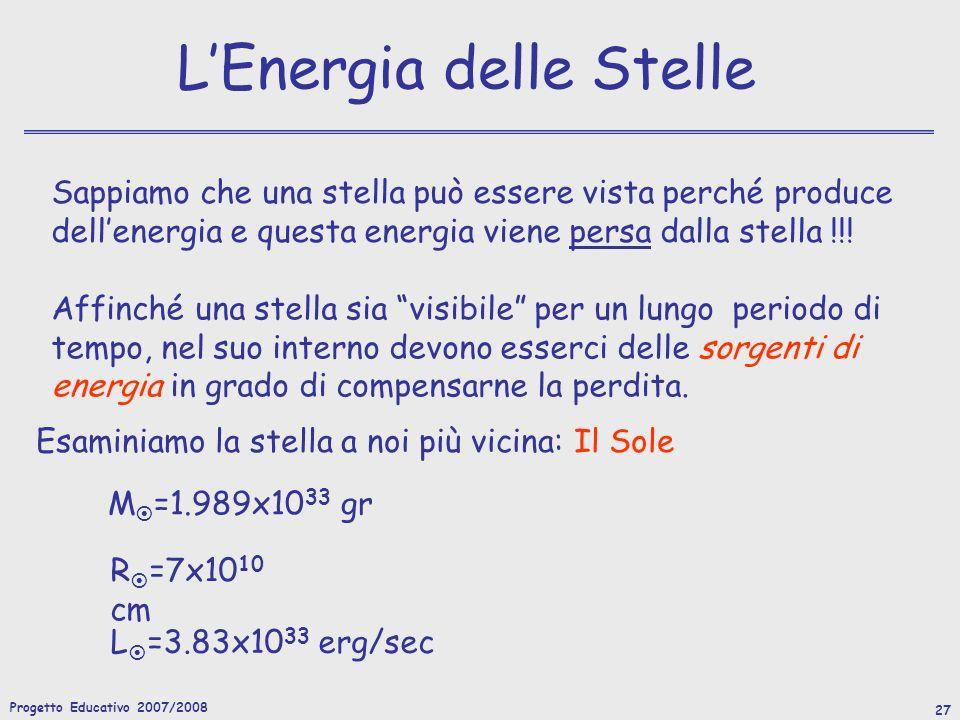 Progetto Educativo 2007/2008 27 LEnergia delle Stelle Sappiamo che una stella può essere vista perché produce dellenergia e questa energia viene persa dalla stella !!.
