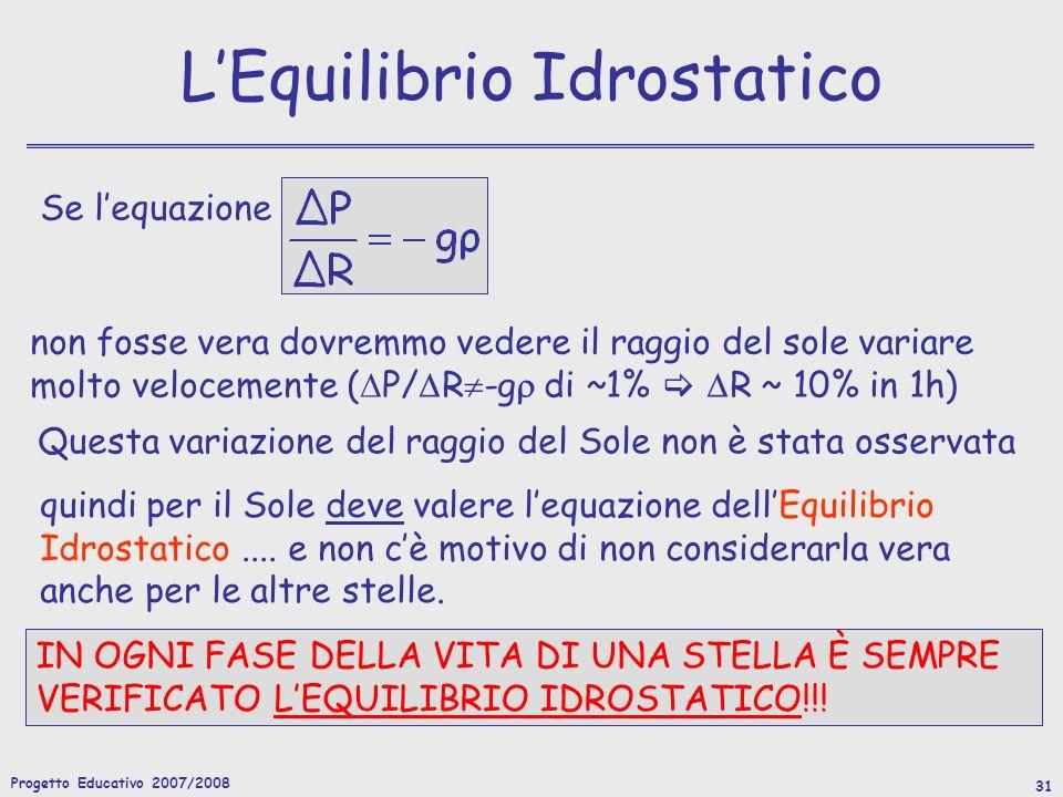 Progetto Educativo 2007/2008 31 Se lequazione quindi per il Sole deve valere lequazione dellEquilibrio Idrostatico....