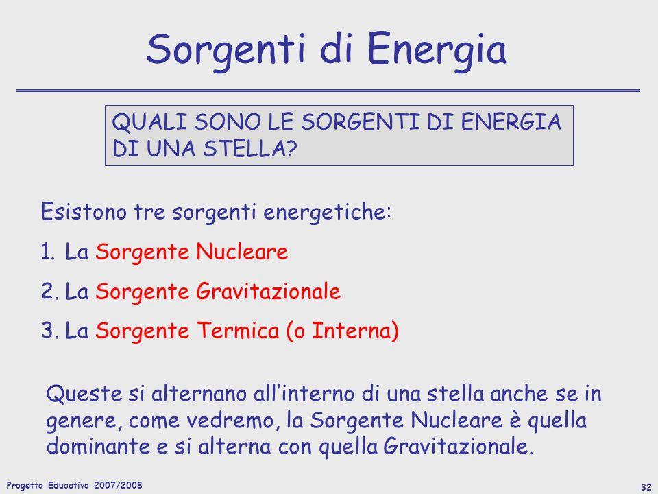 Progetto Educativo 2007/2008 32 Sorgenti di Energia QUALI SONO LE SORGENTI DI ENERGIA DI UNA STELLA.