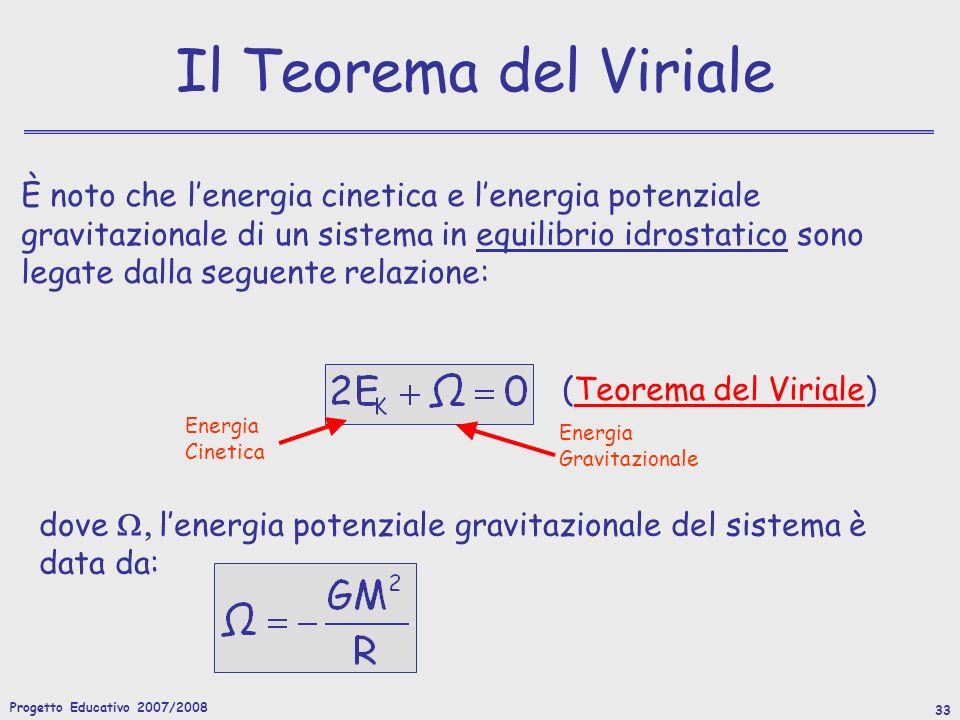 Progetto Educativo 2007/2008 33 Il Teorema del Viriale È noto che lenergia cinetica e lenergia potenziale gravitazionale di un sistema in equilibrio idrostatico sono legate dalla seguente relazione: (Teorema del Viriale) Energia Gravitazionale Energia Cinetica dove lenergia potenziale gravitazionale del sistema è data da: