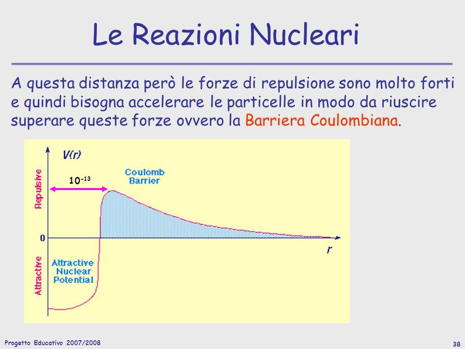 Progetto Educativo 2007/2008 38 Le Reazioni Nucleari A questa distanza però le forze di repulsione sono molto forti e quindi bisogna accelerare le particelle in modo da riuscire superare queste forze ovvero la Barriera Coulombiana.