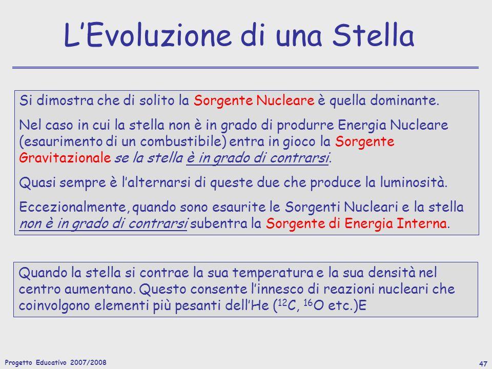Progetto Educativo 2007/2008 47 LEvoluzione di una Stella Quando la stella si contrae la sua temperatura e la sua densità nel centro aumentano.