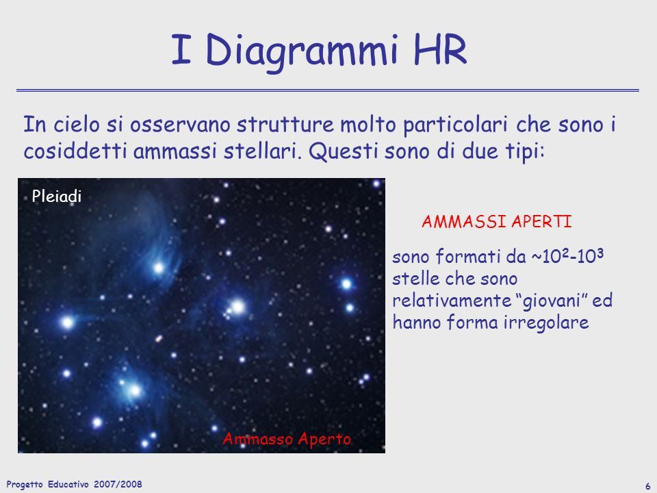 Progetto Educativo 2007/2008 6 I Diagrammi HR In cielo si osservano strutture molto particolari che sono i cosiddetti ammassi stellari.