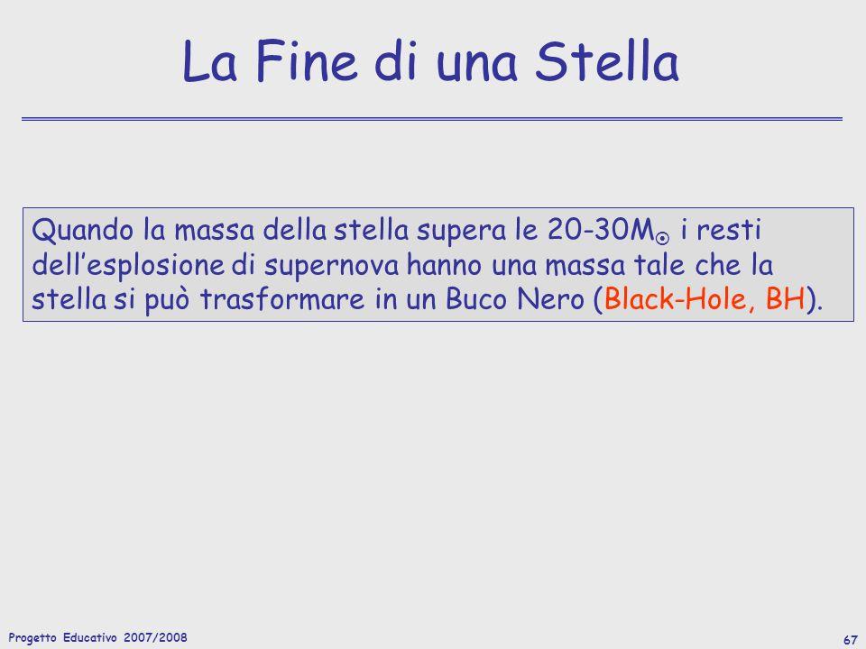 Progetto Educativo 2007/2008 67 La Fine di una Stella Quando la massa della stella supera le 20-30M i resti dellesplosione di supernova hanno una massa tale che la stella si può trasformare in un Buco Nero (Black-Hole, BH).