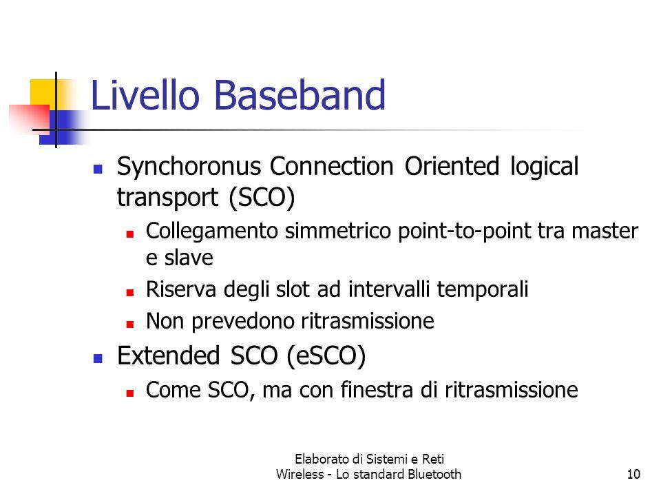 Elaborato di Sistemi e Reti Wireless - Lo standard Bluetooth10 Livello Baseband Synchoronus Connection Oriented logical transport (SCO) Collegamento s