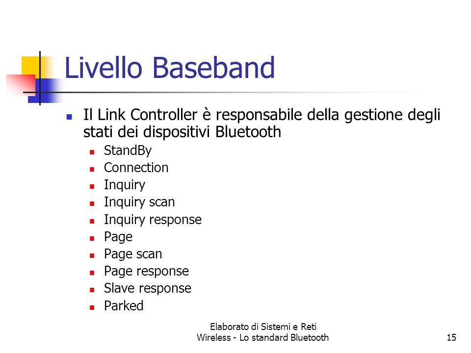 Elaborato di Sistemi e Reti Wireless - Lo standard Bluetooth15 Livello Baseband Il Link Controller è responsabile della gestione degli stati dei dispo