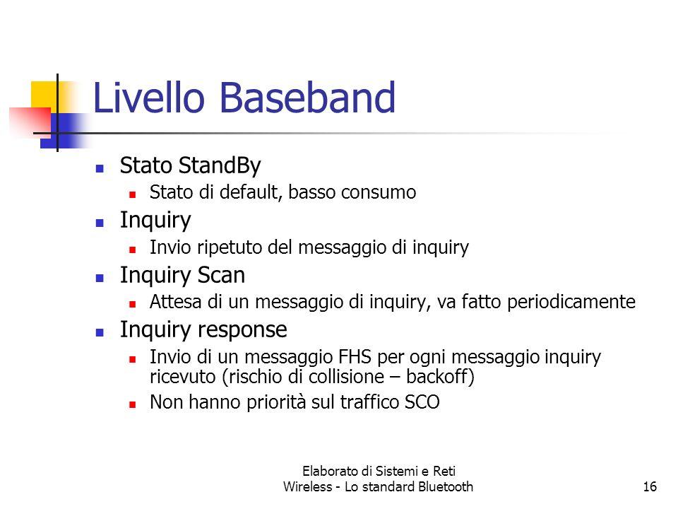 Elaborato di Sistemi e Reti Wireless - Lo standard Bluetooth16 Livello Baseband Stato StandBy Stato di default, basso consumo Inquiry Invio ripetuto d