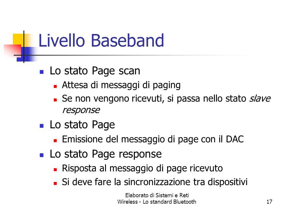 Elaborato di Sistemi e Reti Wireless - Lo standard Bluetooth17 Livello Baseband Lo stato Page scan Attesa di messaggi di paging Se non vengono ricevut
