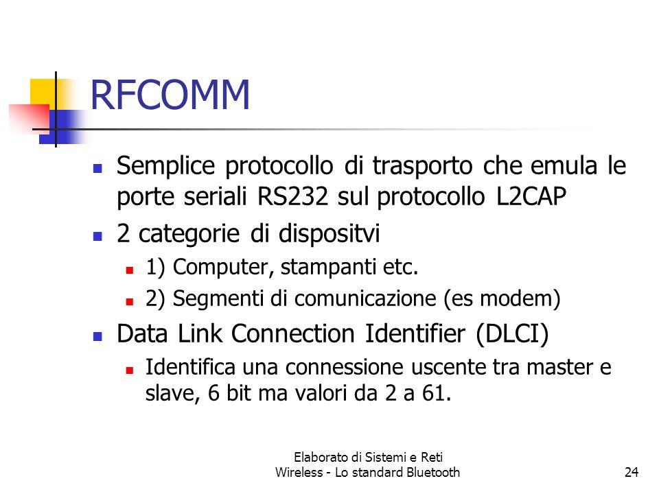 Elaborato di Sistemi e Reti Wireless - Lo standard Bluetooth24 RFCOMM Semplice protocollo di trasporto che emula le porte seriali RS232 sul protocollo