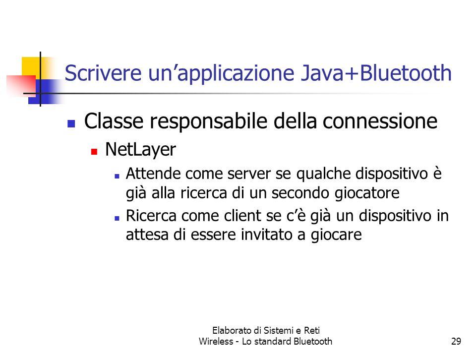 Elaborato di Sistemi e Reti Wireless - Lo standard Bluetooth29 Scrivere unapplicazione Java+Bluetooth Classe responsabile della connessione NetLayer A