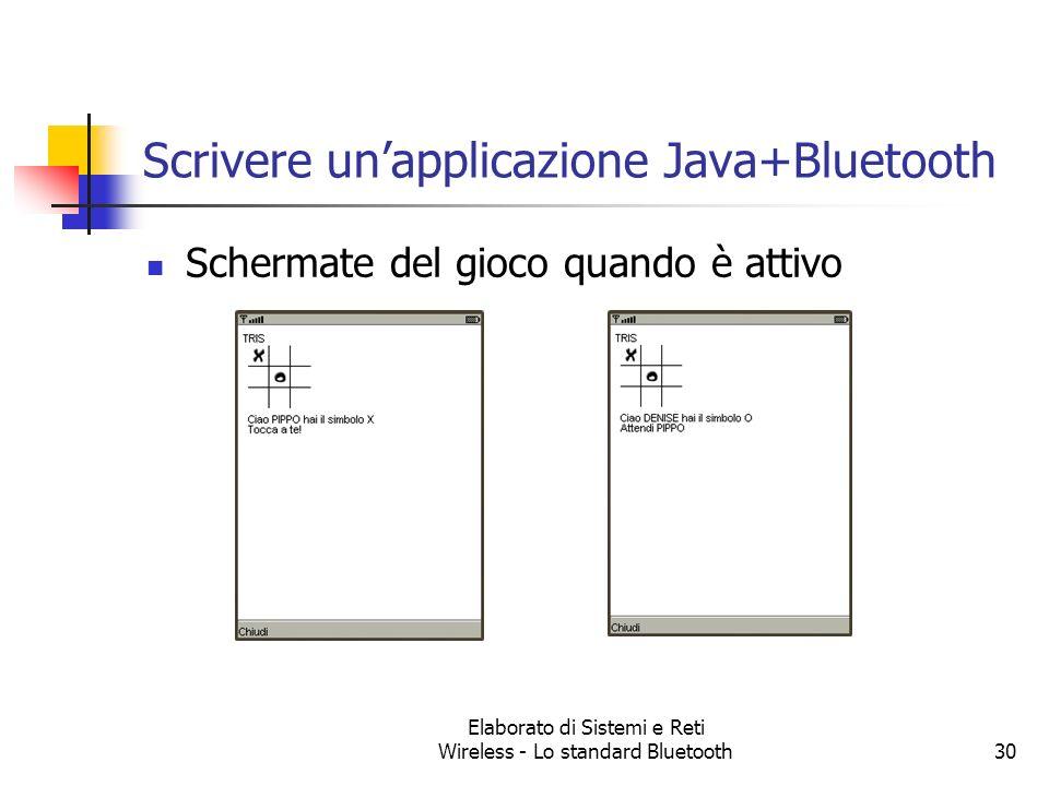 Elaborato di Sistemi e Reti Wireless - Lo standard Bluetooth30 Scrivere unapplicazione Java+Bluetooth Schermate del gioco quando è attivo