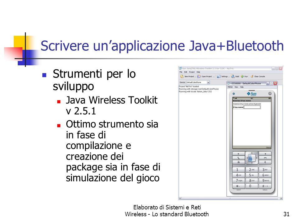 Elaborato di Sistemi e Reti Wireless - Lo standard Bluetooth31 Scrivere unapplicazione Java+Bluetooth Strumenti per lo sviluppo Java Wireless Toolkit