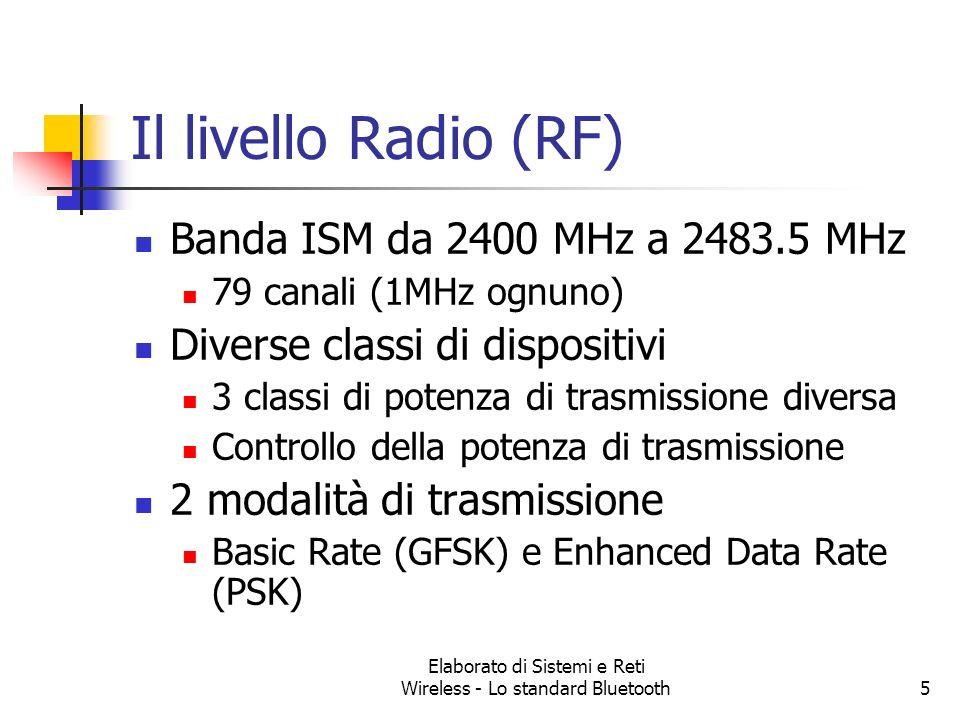 Elaborato di Sistemi e Reti Wireless - Lo standard Bluetooth5 Il livello Radio (RF) Banda ISM da 2400 MHz a 2483.5 MHz 79 canali (1MHz ognuno) Diverse