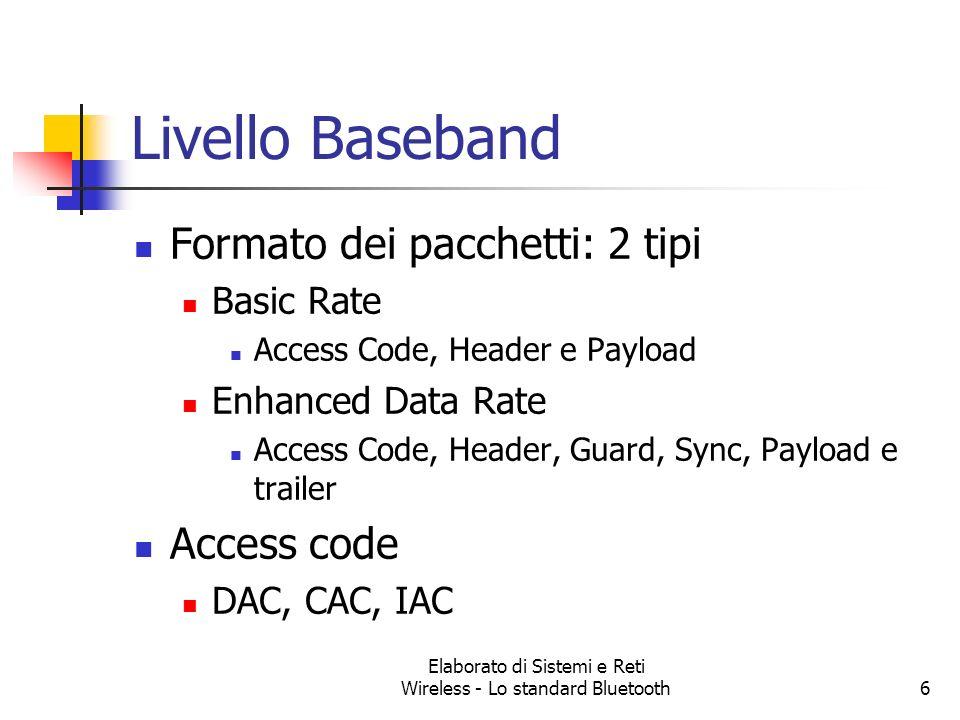 Elaborato di Sistemi e Reti Wireless - Lo standard Bluetooth6 Livello Baseband Formato dei pacchetti: 2 tipi Basic Rate Access Code, Header e Payload