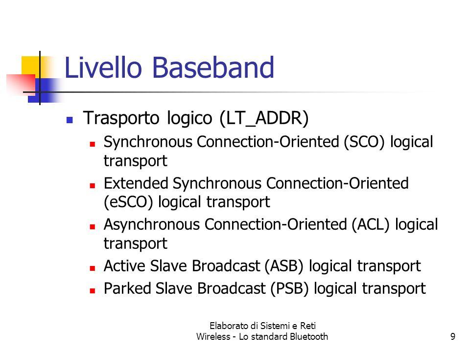 Elaborato di Sistemi e Reti Wireless - Lo standard Bluetooth9 Livello Baseband Trasporto logico (LT_ADDR) Synchronous Connection-Oriented (SCO) logica