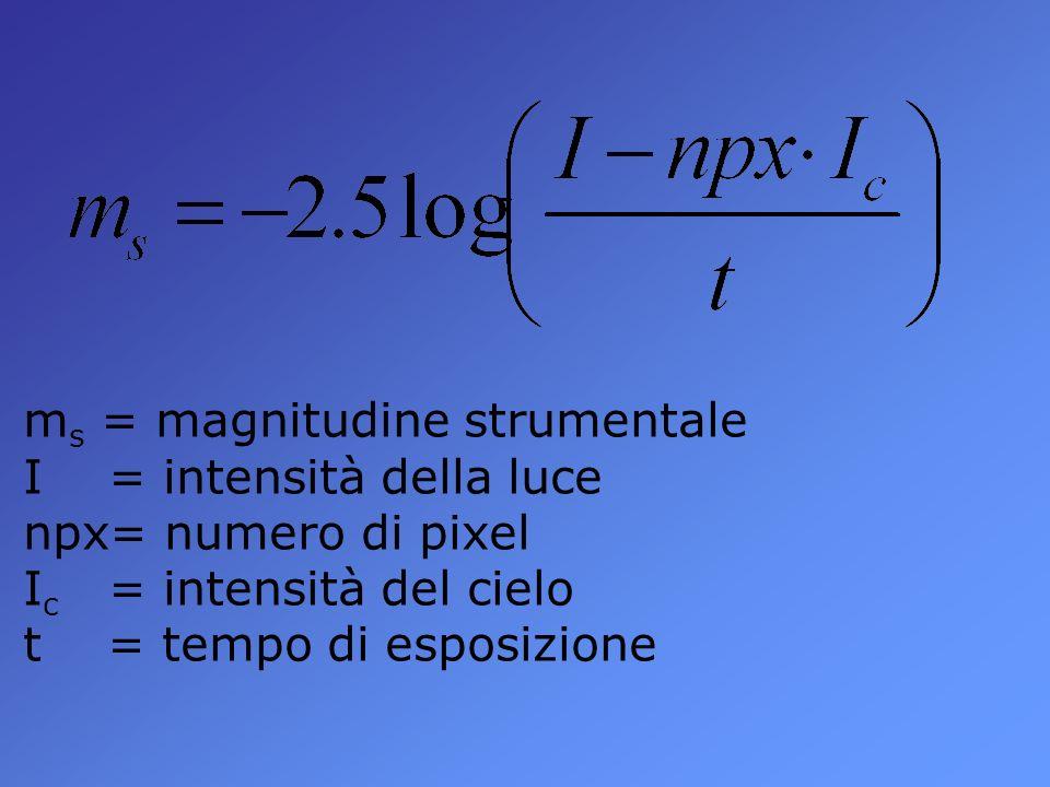 m s = magnitudine strumentale I = intensità della luce npx= numero di pixel I c = intensità del cielo t = tempo di esposizione