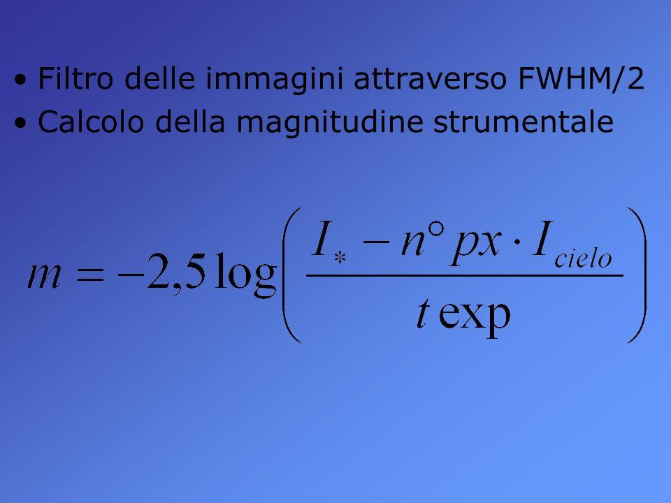 Filtro delle immagini attraverso FWHM/2 Calcolo della magnitudine strumentale