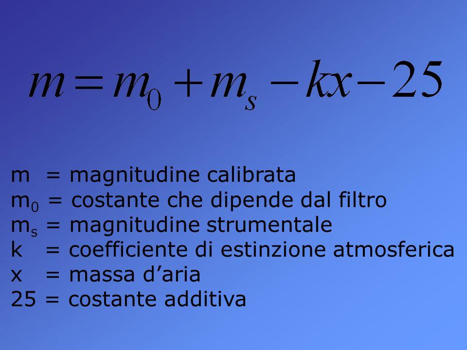 m = magnitudine calibrata m 0 = costante che dipende dal filtro m s = magnitudine strumentale k = coefficiente di estinzione atmosferica x = massa daria 25 = costante additiva