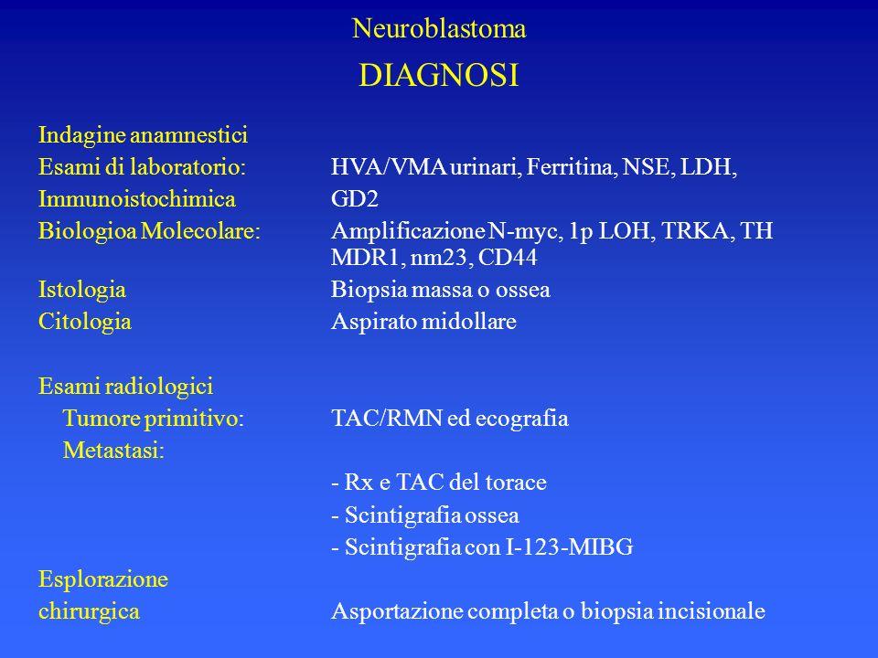 Neuroblastoma DIAGNOSI Indagine anamnestici Esami di laboratorio:HVA/VMA urinari, Ferritina, NSE, LDH, ImmunoistochimicaGD2 Biologioa Molecolare:Ampli