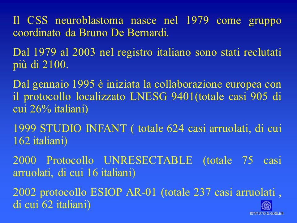 Il CSS neuroblastoma nasce nel 1979 come gruppo coordinato da Bruno De Bernardi. Dal 1979 al 2003 nel registro italiano sono stati reclutati più di 21