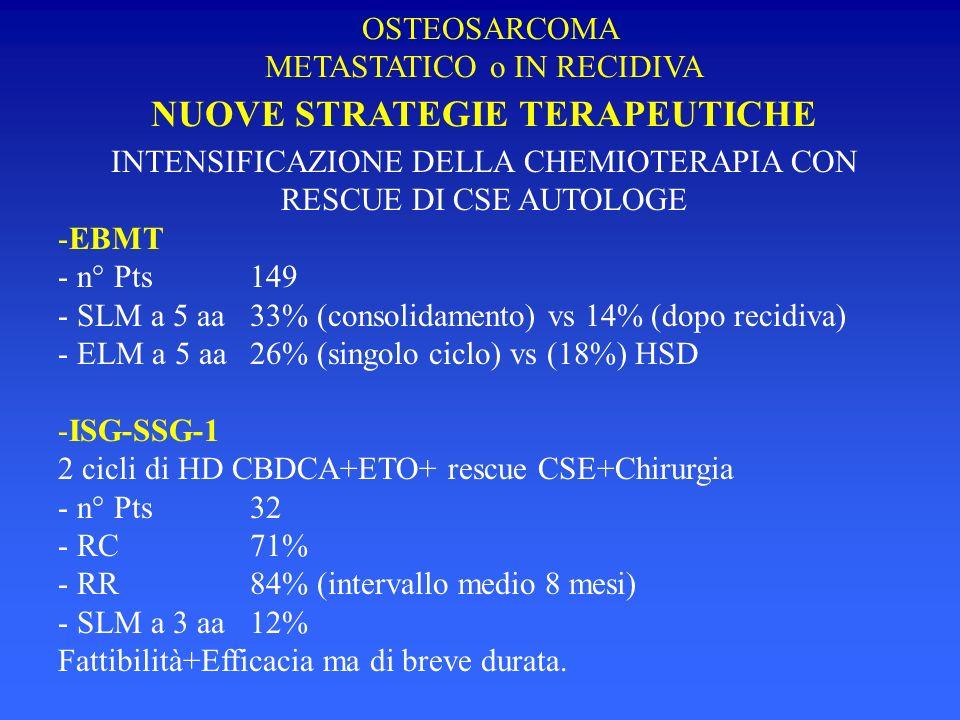 INTENSIFICAZIONE DELLA CHEMIOTERAPIA CON RESCUE DI CSE AUTOLOGE -EBMT - n° Pts149 - SLM a 5 aa33% (consolidamento) vs 14% (dopo recidiva) - ELM a 5 aa