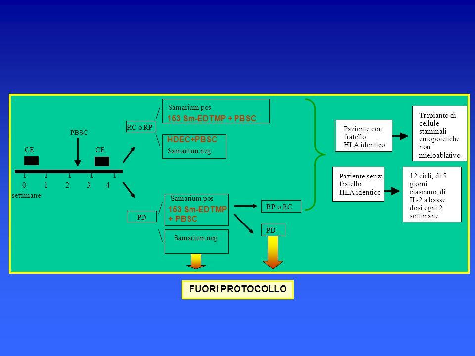 RC o RP Samarium pos Paziente con fratello HLA identico Paziente senza fratello HLA identico Trapianto di cellule staminali emopoietiche non mieloabla