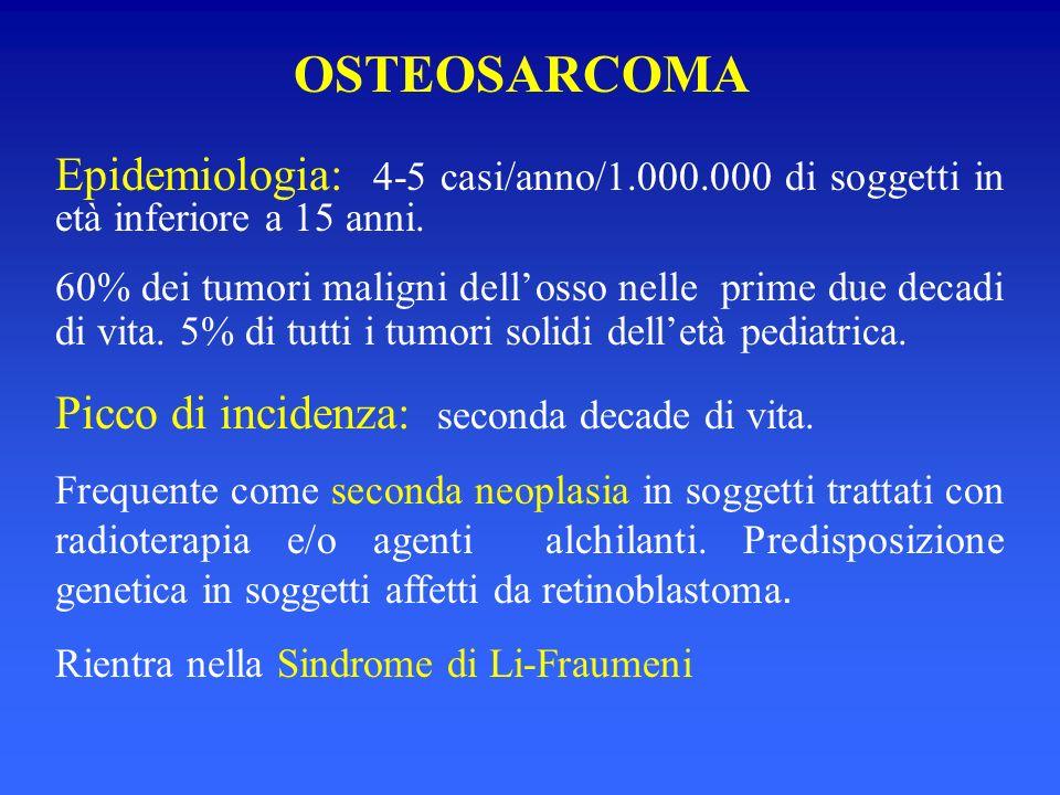 Epidemiologia: 4-5 casi/anno/1.000.000 di soggetti in età inferiore a 15 anni. 60% dei tumori maligni dellosso nelle prime due decadi di vita. 5% di t
