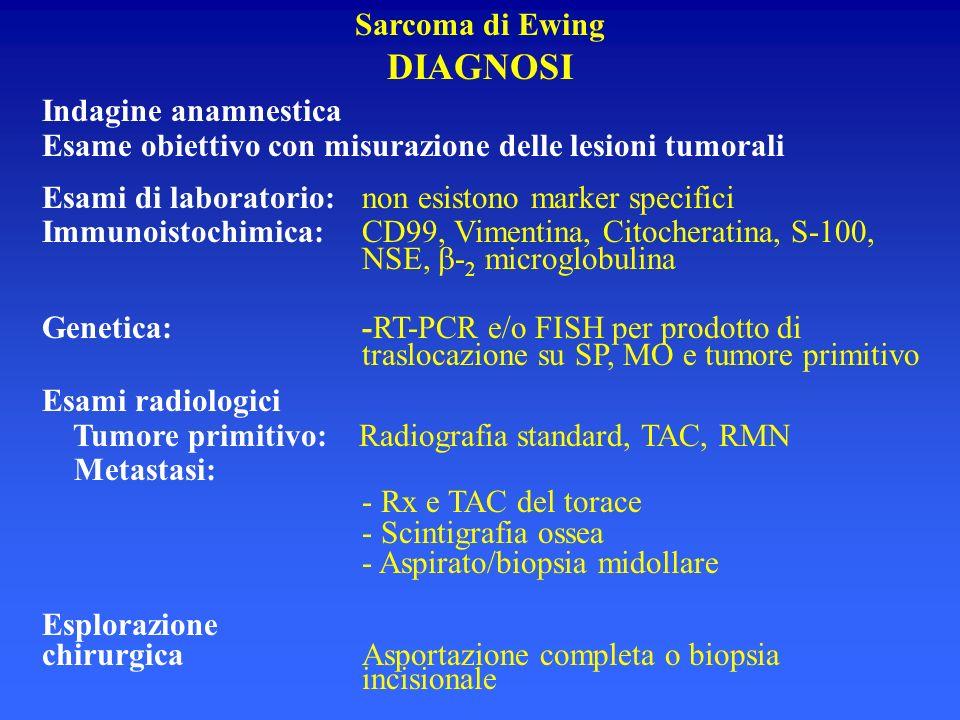 Sarcoma di Ewing DIAGNOSI Indagine anamnestica Esame obiettivo con misurazione delle lesioni tumorali Esami di laboratorio:non esistono marker specifi