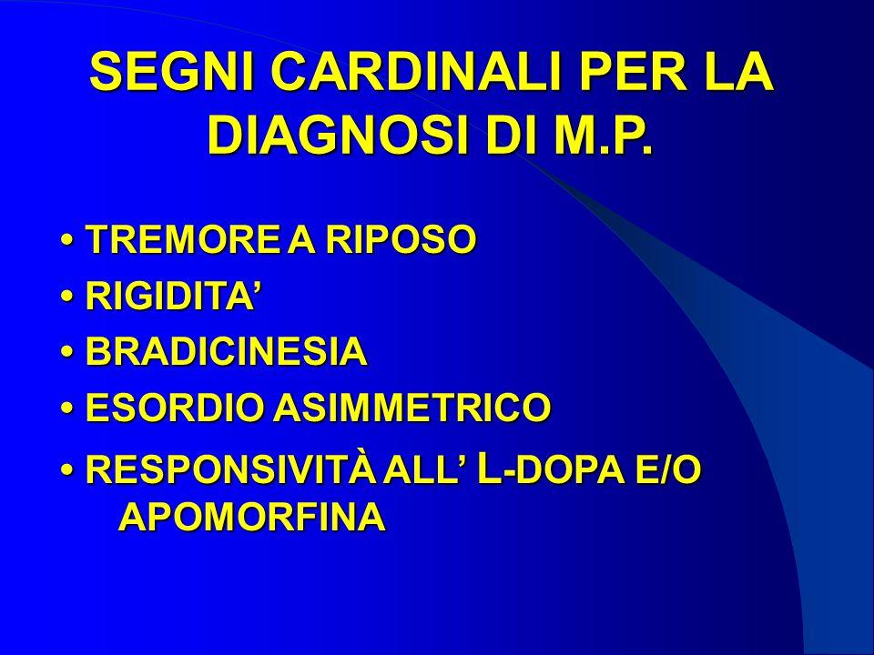 SEGNI CARDINALI PER LA DIAGNOSI DI M.P.