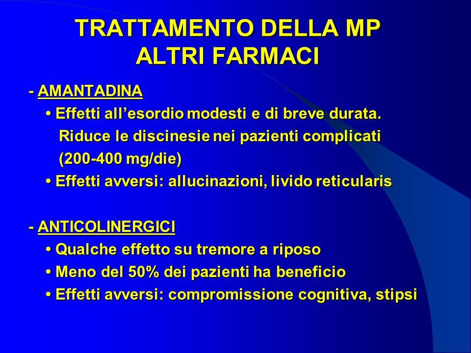TRATTAMENTO DELLA MP ALTRI FARMACI - AMANTADINA Effetti allesordio modesti e di breve durata.