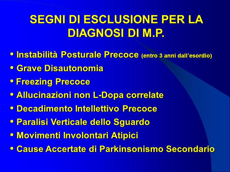 SEGNI DI ESCLUSIONE PER LA DIAGNOSI DI M.P.