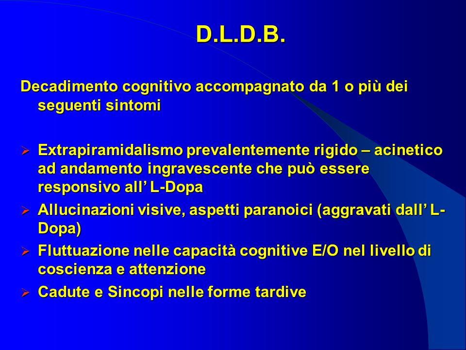 D.L.D.B. Decadimento cognitivo accompagnato da 1 o più dei seguenti sintomi Extrapiramidalismo prevalentemente rigido – acinetico ad andamento ingrave