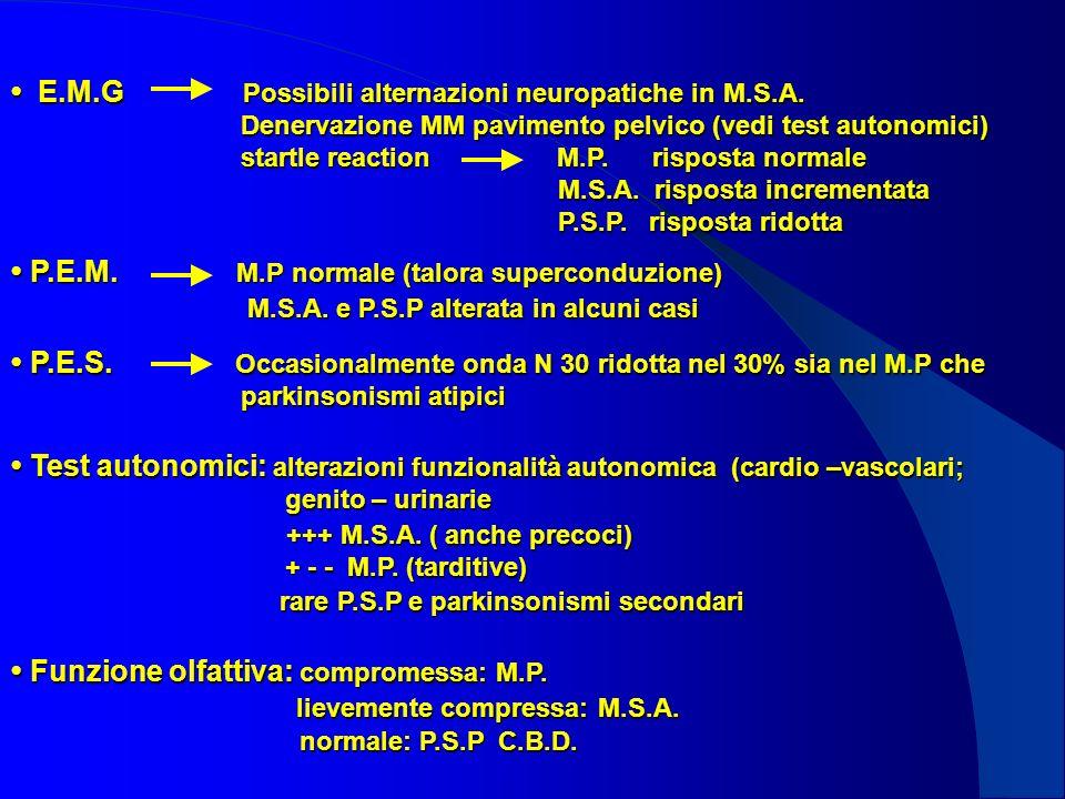 E.M.G Possibili alternazioni neuropatiche in M.S.A. Denervazione MM pavimento pelvico (vedi test autonomici) startle reaction M.P. risposta normale M.