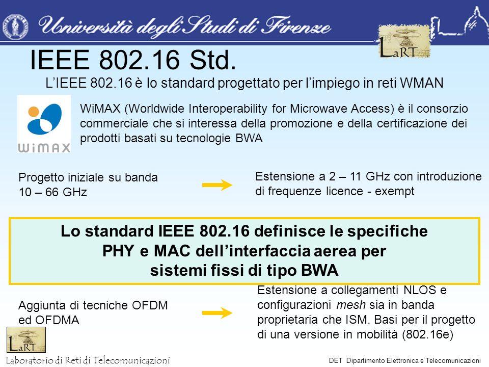 Laboratorio di Reti di Telecomunicazioni DET Dipartimento Elettronica e Telecomunicazioni Specifiche PHY Possibilità di trasmissione sia in TDD che in FDD (half e/o full duplex) Bande di canale da 20, 25 e 28 MHz Modulazioni QPSK, 16QAM e 64QAM Shape dellimpulso informativo a coseno rialzato con fattore di roll-off pari a 0.25 Struttura temporale composta da frame con durata variabile tra 0.5, 1 e 2 ms; viene tuttavia raccomandata la trama da 1 ms, cui corrispondono le seguenti specifiche: Channel Size [MHz] Symbol Rate [MBaud] Bitrate QPSK [Mbps] Bitrate 16QAM [Mbps] Bitrate 64QAM [Mbps] Frame Duration [ms] Number of Physical Slot (PS)* 201632649614000 2520408012015000 2822.448.489.6134.415600 * La lunghezza in byte di ogni PS dipende da modulazione e canale scelti