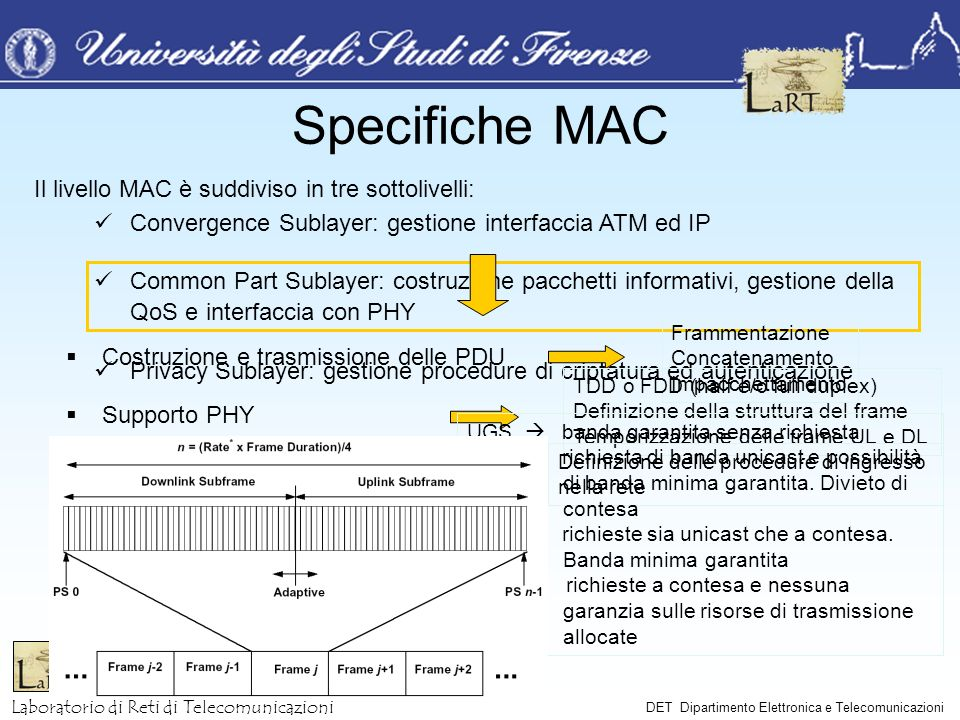 Laboratorio di Reti di Telecomunicazioni DET Dipartimento Elettronica e Telecomunicazioni Il livello MAC è suddiviso in tre sottolivelli: Convergence