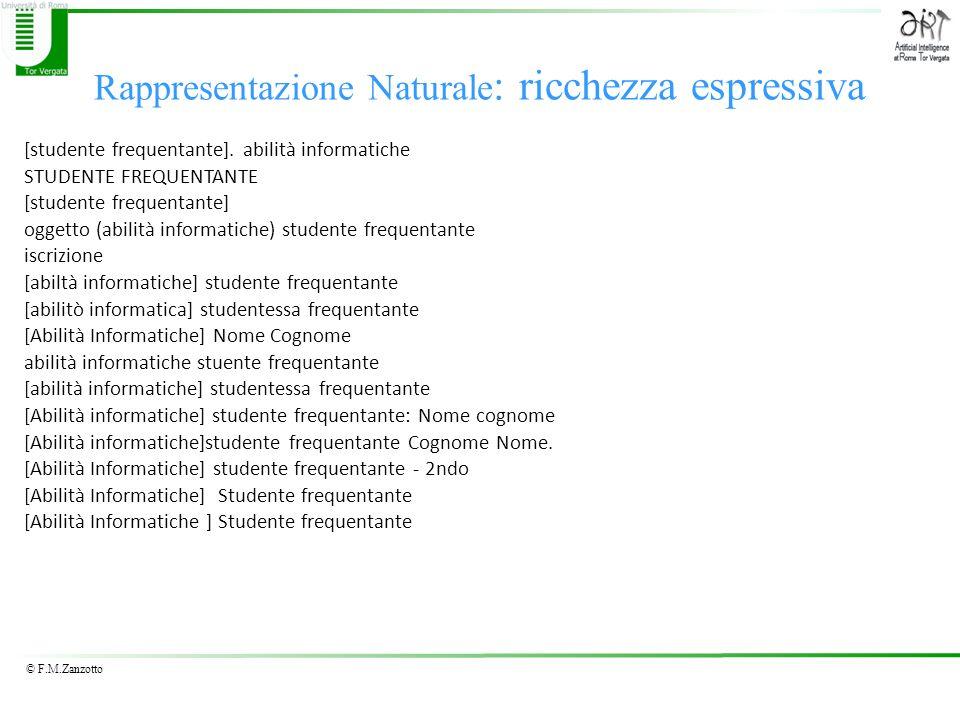 © F.M.Zanzotto Rappresentazione Naturale : ricchezza espressiva [studente frequentante]. abilità informatiche STUDENTE FREQUENTANTE [studente frequent