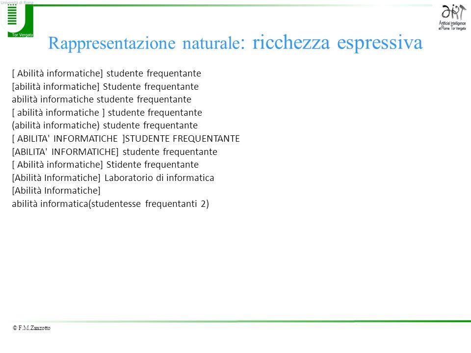 © F.M.Zanzotto Rappresentazione naturale : ricchezza espressiva [ Abilità informatiche] studente frequentante [abilità informatiche] Studente frequent
