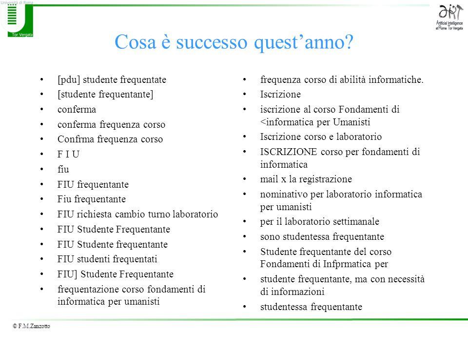 © F.M.Zanzotto Cosa è successo questanno? [pdu] studente frequentate [studente frequentante] conferma conferma frequenza corso Confrma frequenza corso