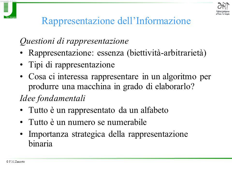 © F.M.Zanzotto Rappresentazione dellInformazione Questioni di rappresentazione Rappresentazione: essenza (biettività-arbitrarietà) Tipi di rappresenta